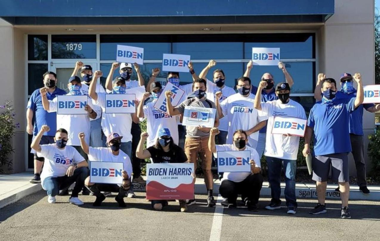 IUBAC Executive Vice President, Carlos Aquin and Western Regional Representative, Ray Keen taking action for Biden-Harris campaign
